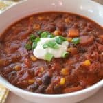 Andouille Chipotle Chili with Sweet Potatoes and Corn