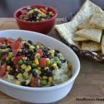 Southwestern Hummus Topped with Black Bean and Corn Salsa Served with Flatbread Wedges