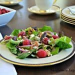 Raspberry and Blue Cheese Salad with Raspberry Maple Dressing