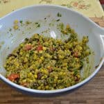 Mexican Quinoa Salad with Avocado Dressing and Tuscan Tomato Salad